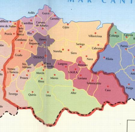 Mapa De Asturias Y Cantabria Juntos.Asturias Central