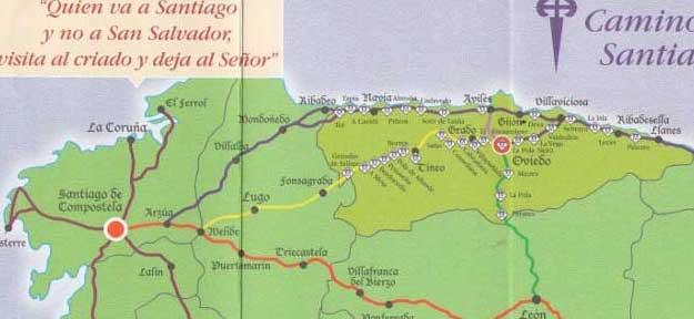 Mapa Costa De Asturias.Resumenes De Los Caminos A Santiago Por Asturias Y Galicia